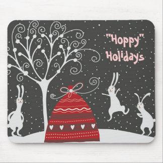 Winter Bunny Hoppy Holidays Mousepad