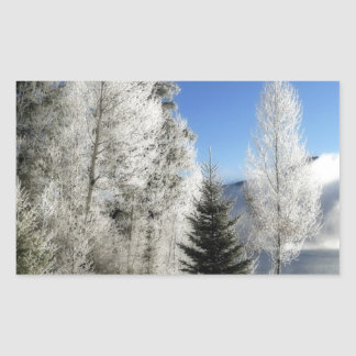 Winter by the Lake Rectangular Sticker