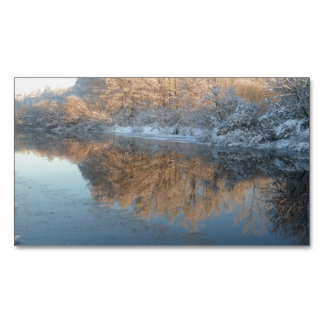 Winter by the River Magnetic Business Cards