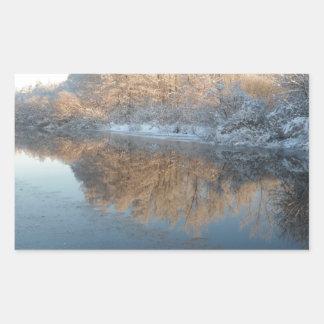 Winter by the River Rectangular Sticker