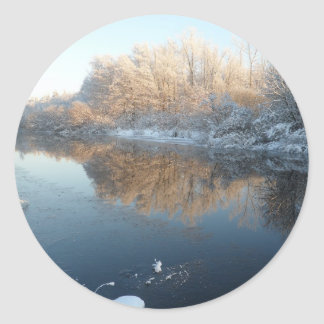 Winter by the River Round Sticker