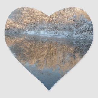 Winter by the River Heart Sticker