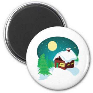 Winter Cabin 6 Cm Round Magnet