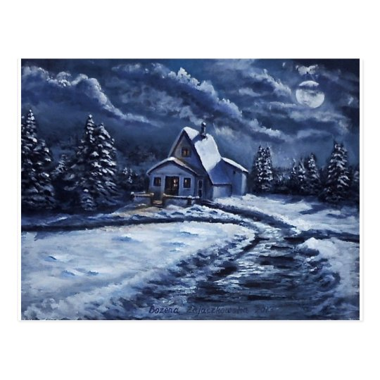 Winter Cabin at Night Postcard