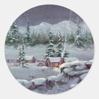 WINTER CABIN by SHARON SHARPE Stickers