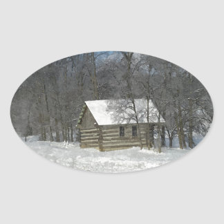 Winter Cabin Customizable Oval Sticker