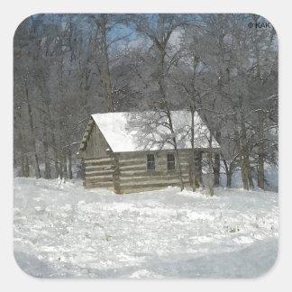 Winter Cabin Customizable Square Sticker