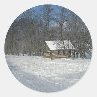 Winter Cabin Customizable Round Sticker