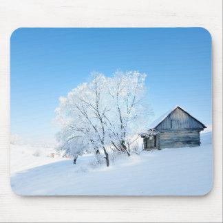 Winter Cabin Landscape Mouse Mat