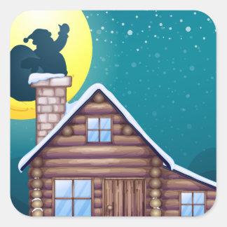 Winter cabin square sticker