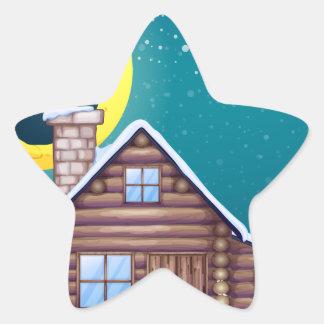 Winter cabin star sticker