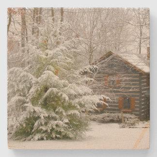 Winter Cabin Stone Beverage Coaster
