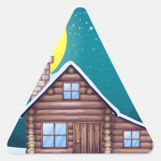 Winter cabin triangle sticker