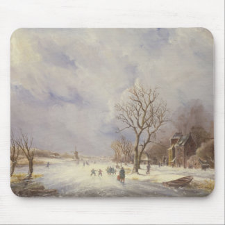 Winter Canal Scene, 19th century Mousepad