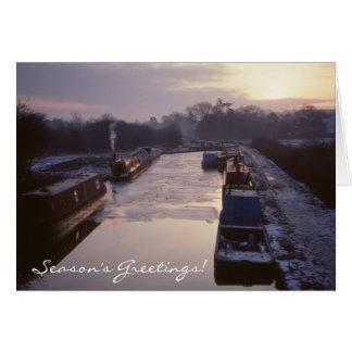 Winter canal sunrise Christmas Card