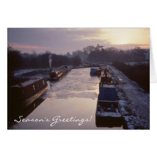 Winter canal sunrise Christmas Greeting Card