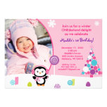 Winter Candy Penguin Birthday Invitations