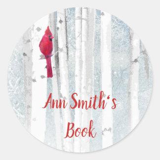 Winter Cardinal Bird Book Plate to Customize Classic Round Sticker