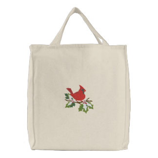 Winter Cardinal Embroidered Bag