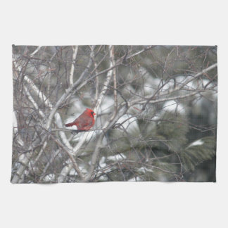 Winter Cardinal Tea Towel