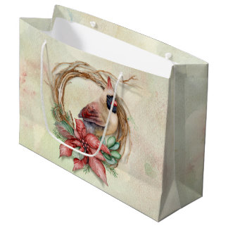 Winter Cardinal with Poinsettia Large Gift Bag