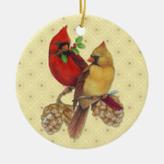 Winter Cardinals Pine and Holly Christmas Ornament
