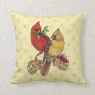 Winter Cardinals Pine and Holly Cushion