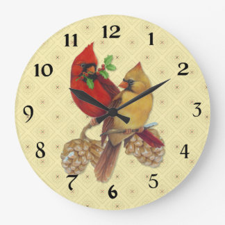 Winter Cardinals Pine and Holly Large Clock