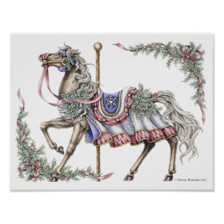 Winter Carousel Horse Pen and Ink Drawing Poster