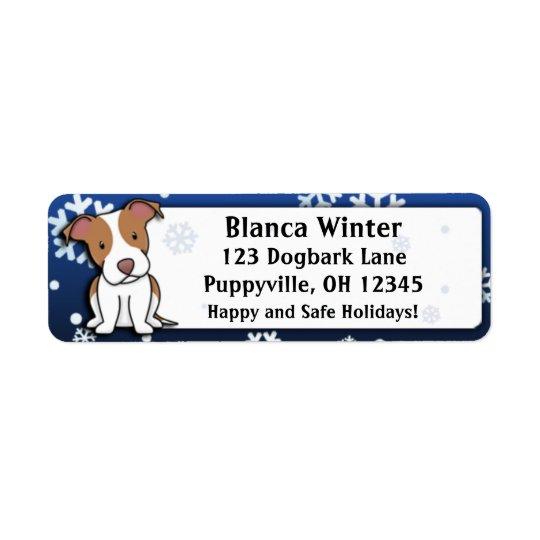 Winter Cartoon American Pit Bull Terrier Return Address Label