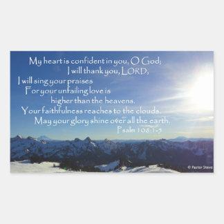 Winter Cascades Sky, Psalm 108 Rectangular Sticker