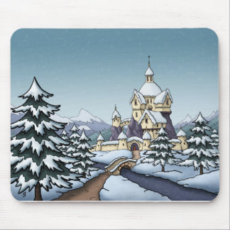 winter castle christmas holiday landscape mouse pad