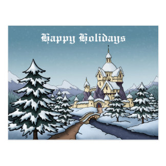 winter castle christmas holiday landscape postcard