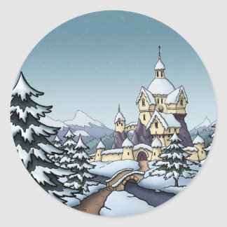 winter castle christmas holiday landscape round sticker
