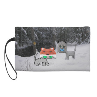 Winter Cat With Winter Racoon Hat Wristlet Purse