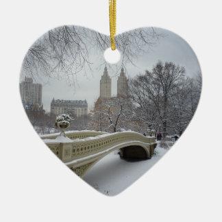 Winter - Central Park - New York City Ceramic Heart Decoration