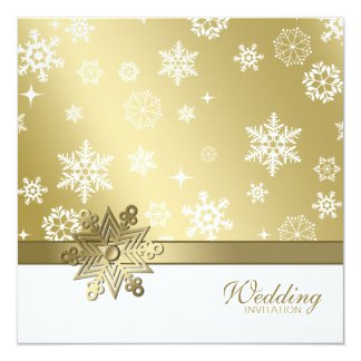 Winter Champagne and white Snowflakes Wedding 13 Cm X 13 Cm Square Invitation Card