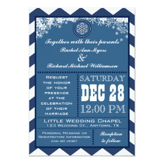 Winter Chevron Pattern Snowflake Wedding Invite