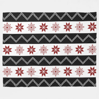 Winter Chic Red White + Black Zigzag Blanket
