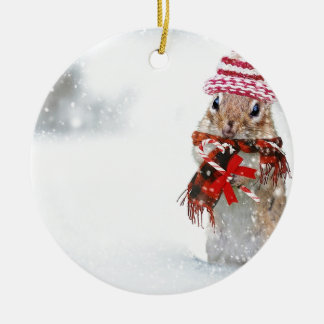 Winter Chipmunk Knit Hat Red Scarf Bundled Up Christmas Ornament