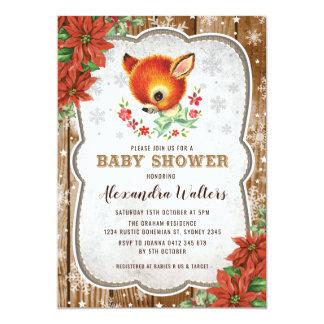 Winter Christmas Baby Shower Invitation Reindeer