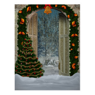 Winter Christmas Scene Postcard