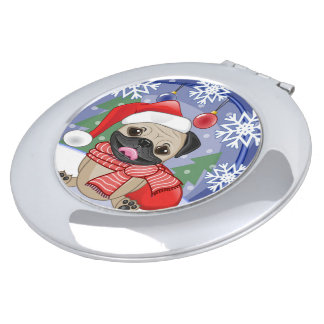 Winter & Christmas Time Pug Compact Mirrors