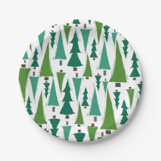 Winter Christmas trees Paper Plate