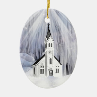 Winter Church Ceramic Oval Decoration
