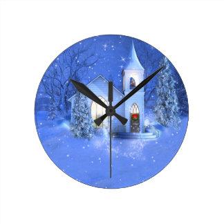 Winter Church Round Clock