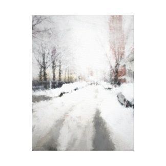 Winter cityscape stretched canvas prints