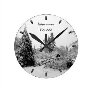 Winter Clock Custom Winter Bridge Wall Clock
