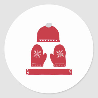 Winter Clothes Round Stickers