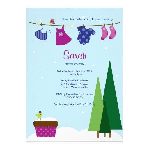 Winter Clothesline Baby Girl Shower Invite